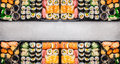 Varied Sushi Sets Assortment In Bento Boxes On Gray Stone Background, Top View Stock Photography - 67778132