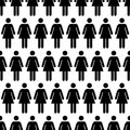 Crowd Of Black Simple Women Icons On White, Seamless Pattern Stock Images - 67779354
