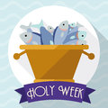 Multiplication Of Fishes Scene In Flat Style For Holy Week, Vector Illustration Royalty Free Stock Photography - 67789377