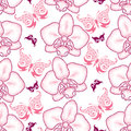 Seamless Pattern With Pink Dotted Moth Orchid Or Phalaenopsis And Ornate Butterflies On The White Background. Royalty Free Stock Photo - 67790355