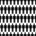 Crowd Of Black Simple Men Icons, Seamless Pattern Stock Photography - 67794452