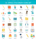Vector Office Stacionery  Color Flat Icon Set. Elegant Style Design. Royalty Free Stock Photography - 67796757