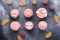 Pink Cupcakes On A Dark Background With Flour Stock Image - 67798521