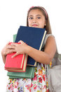 Busy Student With Many Books Royalty Free Stock Images - 6784789