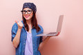 Portrait Of A Young Woman With Laptop Stock Photography - 67801422
