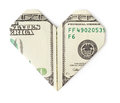 One Hundred Dollars Folded Into Heart Isolated Stock Photo - 67810520
