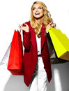 Happy Sweet Smiling Blonde Woman In Red Jacket Royalty Free Stock Photo - 67824555
