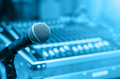 Close Up Of Microphone On Mixer Blurred Background Stock Image - 67841631