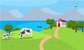 Vector Illustration A House And Cow In Beautiful Summer Nature Royalty Free Stock Photos - 67846758