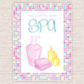Vector Illustration Of Spa Party Invitation With Colorful Mosaic Frame With Liquid Soap And Candle Royalty Free Stock Photography - 67847947