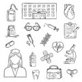 Hospital And Medicine Sketch Objects Stock Photos - 67872753