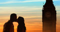 Backlit Loving Couple Honeymoon In London Stock Photos - 67874063