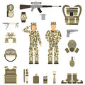 Military Symbols Design With Weapon And Uniform. Vector. Royalty Free Stock Images - 67889379