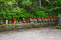Wide Angle View Of Moss Covered Statues Of Jizo In Nikko, Japan. Front View Royalty Free Stock Photo - 67893665