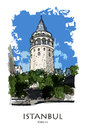 ISTANBUL, TURKEY: Galata Tower. Hand Drawn Sketch Royalty Free Stock Images - 67897849