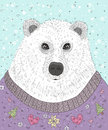 Cute Hipster Polar Bear With Christmas Sweater Stock Images - 67900944
