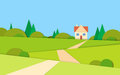 Summer View Landscape Road To House Stock Image - 67902451