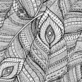 Seamless Asian Ethnic Floral Retro Doodle Black And White Background Pattern In Vector With Feathers. Stock Image - 67905891
