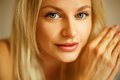 Emotive Portrait Of Young Beautiful Woman With Long Blonde Hair. Stock Image - 67911611
