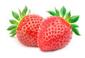 Two Strawberries With Leaves Isolated Stock Photography - 67916132