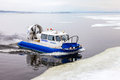 Hovercraft On The Ice Of The Frozen Volga River In Samara, Russi Stock Photography - 67917182