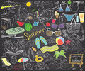 Summer Season Doodles Elements. Hand Drawn Sketch Set With Sun, Umbrella, Sunglasses, Palms And Hammock, Beach, Camping Items And Stock Images - 67926804