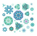 Blue Vector Mandala Set. Stock Photo - 67929070