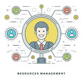 Flat Line Team Building And Resources Management Concept. Vector Illustration. Stock Image - 67938601