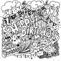Happy Birthday Hand Drawn Sketch Set With Doodle Stock Images - 67938784