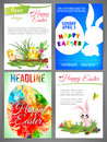 Happy Easter Flyer Templates Set Of Newborn Chiken And Rabbit, Blue Egg In Wave, Silhouette Of Rabbit And Egg Stock Photos - 67945963