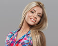 Beautiful Young Woman Portrait Posing Attractive With Amazing Long Blonde Hair Stock Photos - 67946463