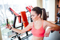 Woman Athlete Taking Selfie And Listening To Music In Gym Stock Photography - 67946832
