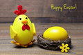 Happy Easter Card: Easter Chick And Egg In The Nest Stock Images - 67970934
