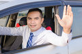 Portrait Of Smile Asian Man Driving A Car Opem Car Window And Sh Stock Images - 67977704