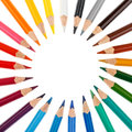 Colored Pencils Stacked In A Circle Royalty Free Stock Image - 67981606