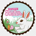 Tender Bunny Playing Outside Hide And Seek With Easter Eggs, Vector Illustration Stock Photos - 67986823
