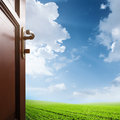 Room With Open Door To The Meadow Royalty Free Stock Images - 68041539