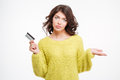 Sad Woman Holding Bank Card And Copyspace On The Palm Stock Images - 68057094