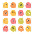Set Of Cartoon Smiley Monsters. Collection Of Different Cute Flu Stock Photo - 68076430