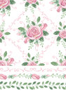 Watercolor Pink Roses Bouquet Seamles Pattern,borders,swirls Royalty Free Stock Photography - 68076597
