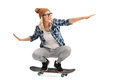 Cool Skater Girl Riding A Skateboard Royalty Free Stock Photography - 68097337