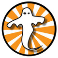 Ghost Icon With Orange Rays Royalty Free Stock Photo - 6812285
