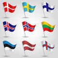 Vector Set Of Flags States Of Northern Europe Stock Photography - 68120692