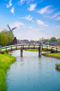 Traditional Dutch Old Wooden Windmill In Zaanse Schans Stock Photo - 68120990
