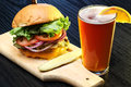 Craft Beer With Delicious Hamburger Royalty Free Stock Images - 68135129