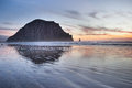 Morro Bay Rock And Beach In The Sunset Evening Stock Photos - 68135933
