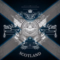 White Coat Of Arms With Circle Lion Head And Vintage Weapons On Scotland Flag Background Stock Images - 68147204