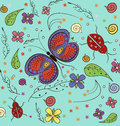 Butterfly And Lady Bug Pattern Stock Image - 68153261
