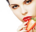 Sexy Lady Holding A Juicy Strawberry Stock Images - 68177354