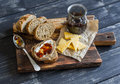 Homemade Whole Grain Bread, Cheese And Figs Jam.  Delicious Breakfast Or Snack. Royalty Free Stock Photo - 68183295